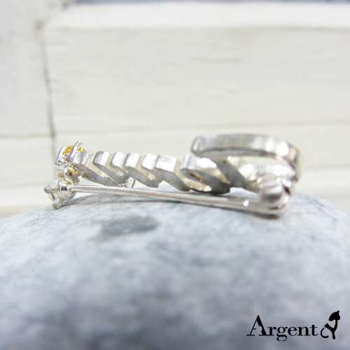 鑲鑽英文姓名簍空純銀別針銀飾|客製化別針