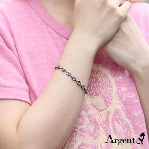 「薔薇」造型花朵鍊純銀手鍊|925銀飾