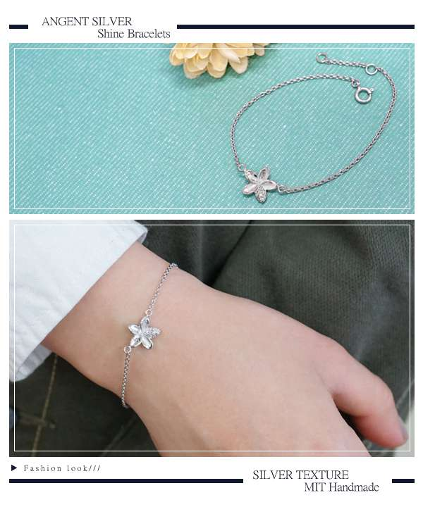 「晶鑽花漾」造型閃亮純銀手鍊|925銀飾