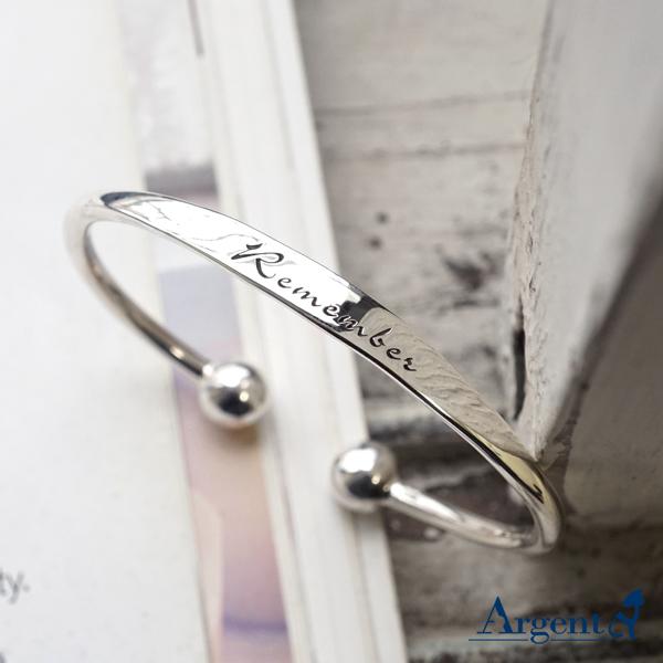 「環珠(刻字)」造型純銀手環