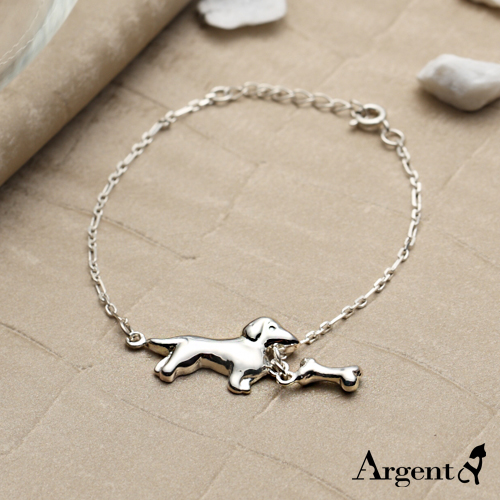 Little Dachshund + Mini Dog Bone Sterling Silver Bracelet | 925 Silver