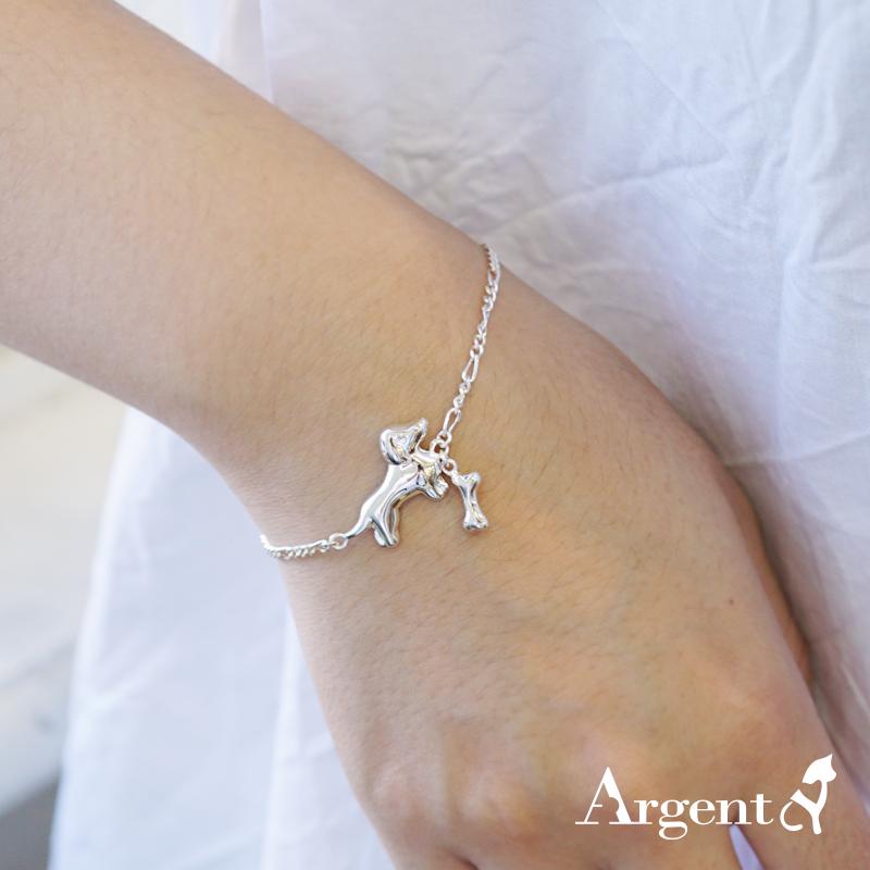 「小臘腸狗+迷你狗骨頭」純銀手鍊