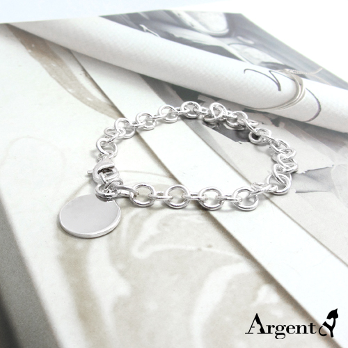 Small round card laser engraving style silver bracelet | 925 silver