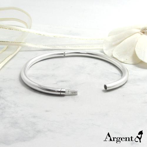 「橢圓弧形」按鈕開口封閉式純銀手環 925銀飾