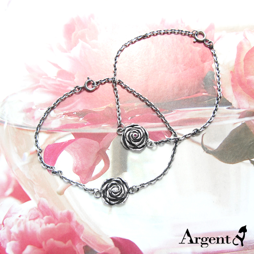 「白/紅心玫瑰」造型染黑純銀手鍊|925銀飾