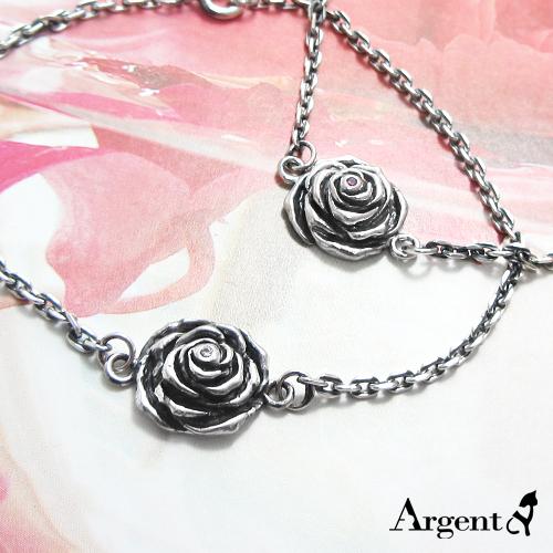 「白/红心玫瑰」造型染黑纯银手链|925银饰
