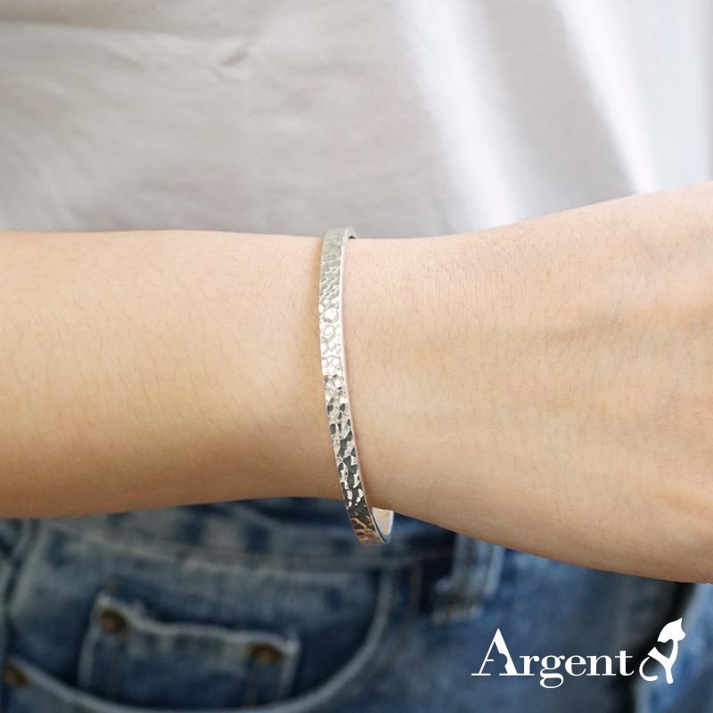 4mm「甜蜜烙印」手工系列纯银手环|925银饰