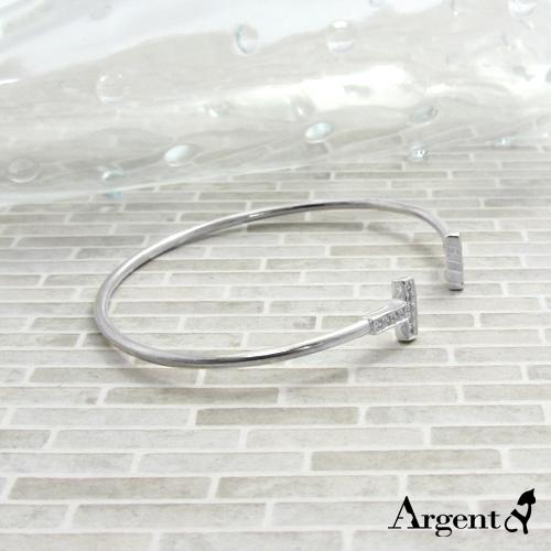 晶鑽雙T造型閃亮純銀手環|925銀飾