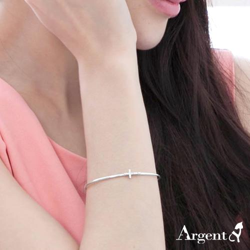 「晶鑽十字」造型銀手鐲純銀手環|925銀飾