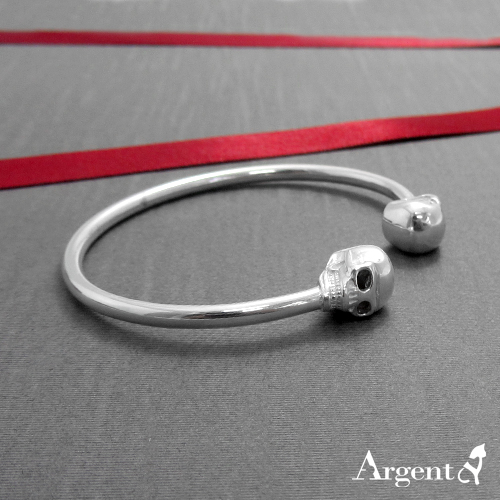 「骷髏頭」獨特個性風格純銀手環|925銀飾