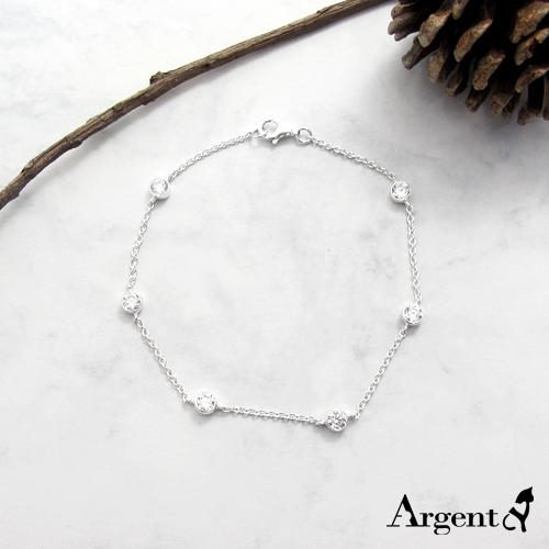 「晶鑽圓滴」造型閃亮純銀手鍊|925銀飾