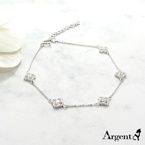 「晶鑽花朵」造型閃亮純銀手鍊|925銀飾