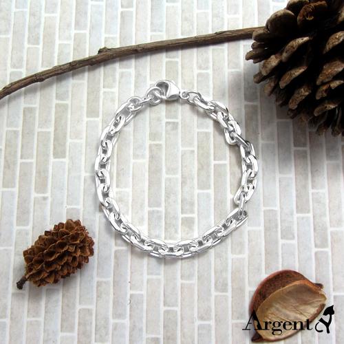 粗款「方格鎖鍊」純銀手鍊|925銀飾
