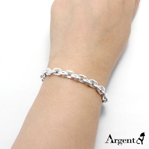 粗款「方格锁链」纯银手链|925银饰