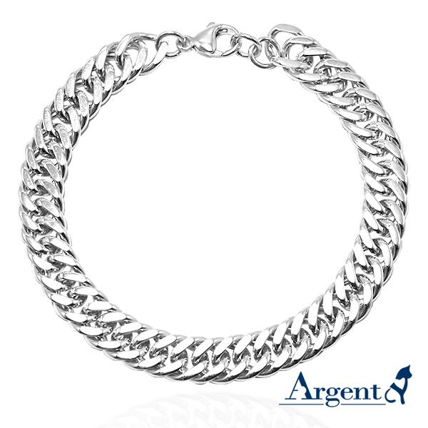 粗版「双层扁链」独特纯银手链|925银饰