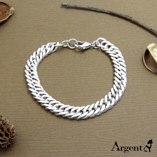 粗版「雙層扁鍊」獨特純銀手鍊|925銀飾