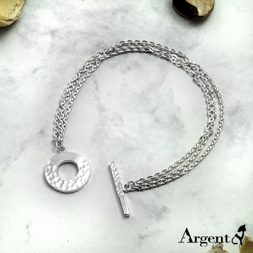 「烙印情緣」雙鍊T字扣純銀手鍊|925銀飾