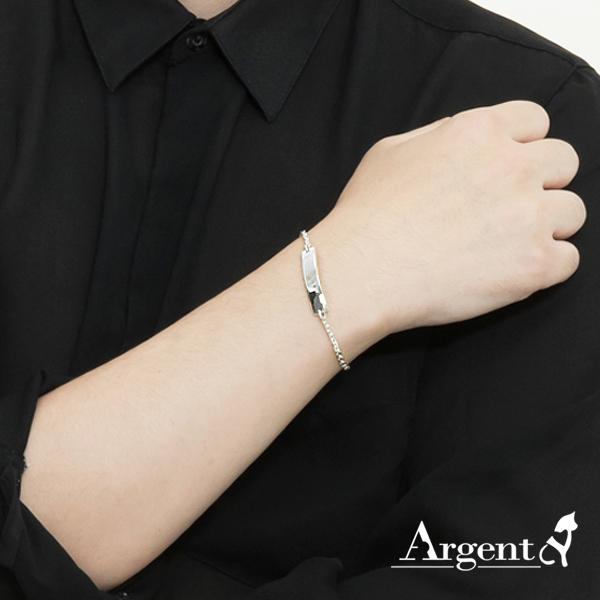 「尋跡」長牌造型鍊銀飾|925純銀手鍊