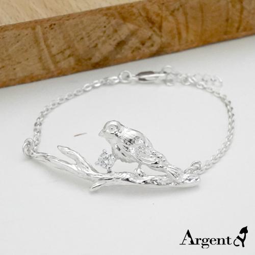 「枝头小鸟」造型立体纯银手链|925银饰