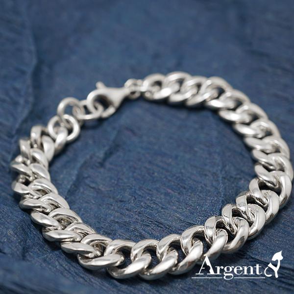 「粗扁鍊」銀飾純手工編織925純銀手鍊