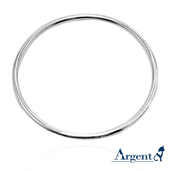 3mm「圆弧形」无开口手工制作纯银手环|925银饰