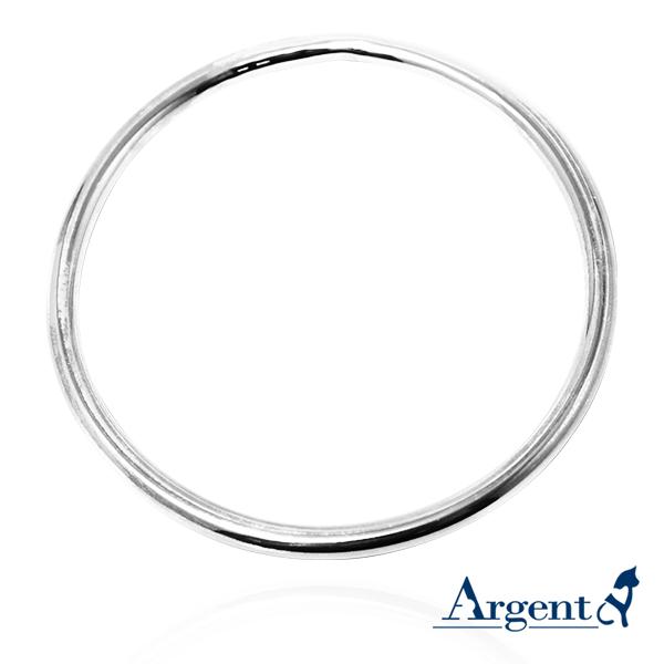 4mm「圆弧形」无开口手工制作纯银手环|925银饰