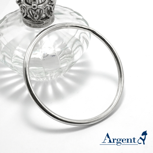 4mm「圓弧形」無開口手工製作純銀手環|999銀飾