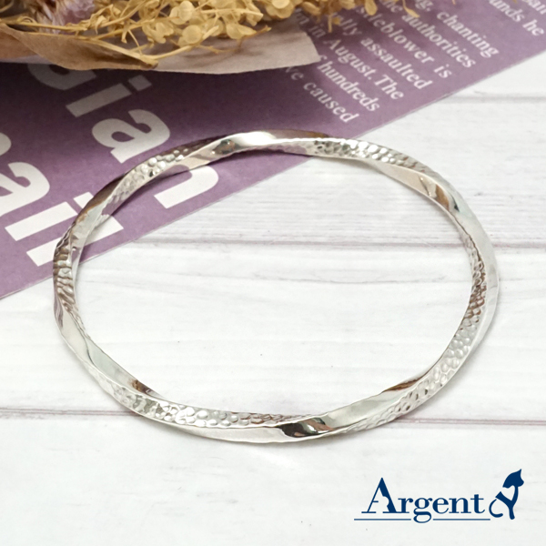 4mm「扭紋烙印」無開口手工製作純銀手環