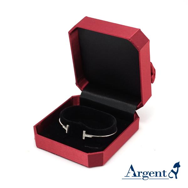 八角緞帶手環盒(紅)(C環黑底)
