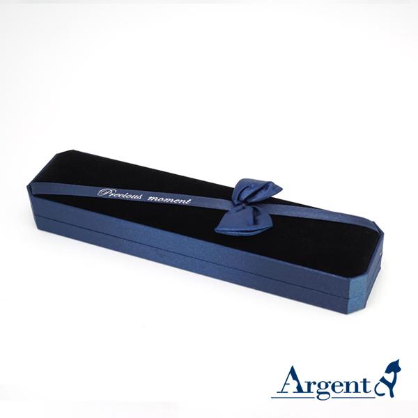 八角緞帶手鍊盒(藍)(黑底)