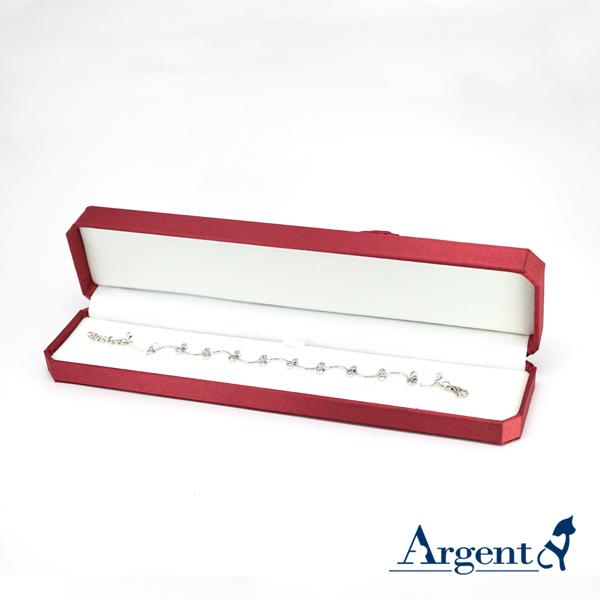 八角緞帶手鍊盒(紅)(白底)