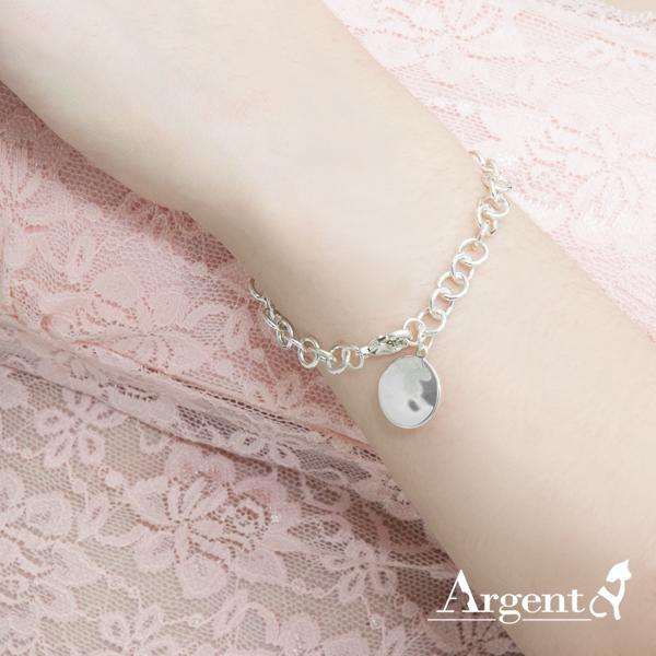 小圓牌雷射刻字純銀手鍊銀飾|客製化手鍊