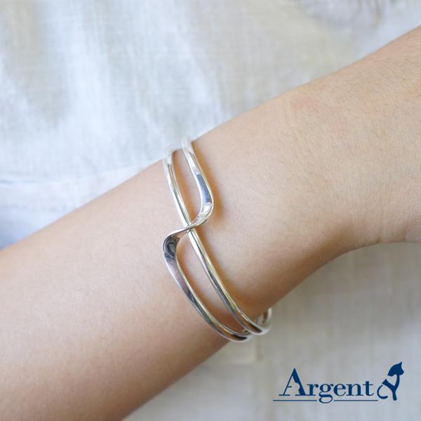 S造型銀手鐲純銀手環|925銀飾