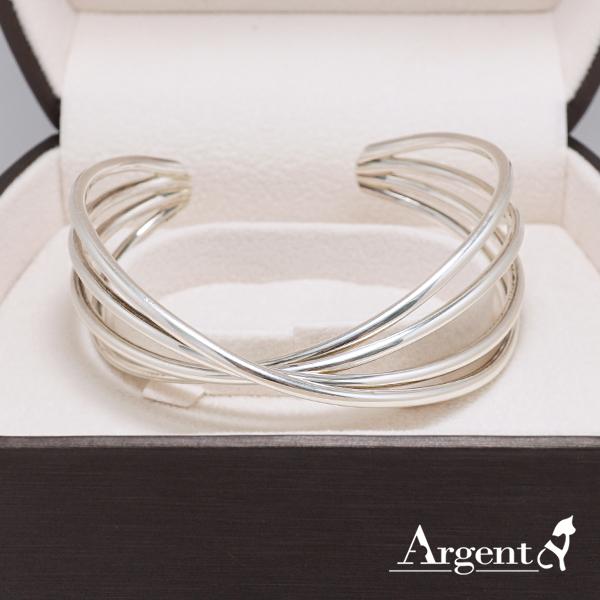 交纏銀手鐲純銀手環|925銀飾