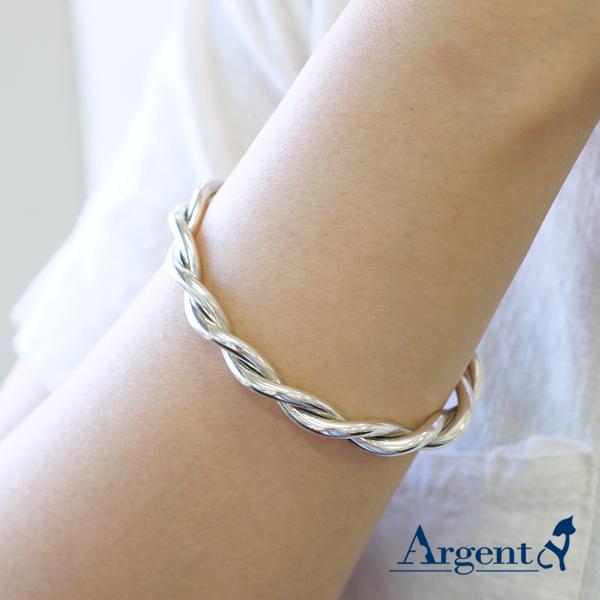 麻花銀手鐲純銀手環|925銀飾