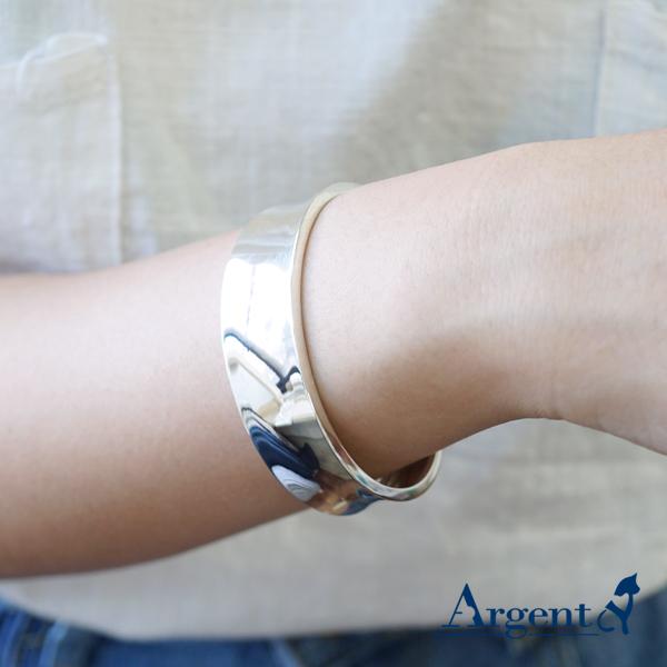 弧形(寬版)銀手鐲純銀手環 925銀飾