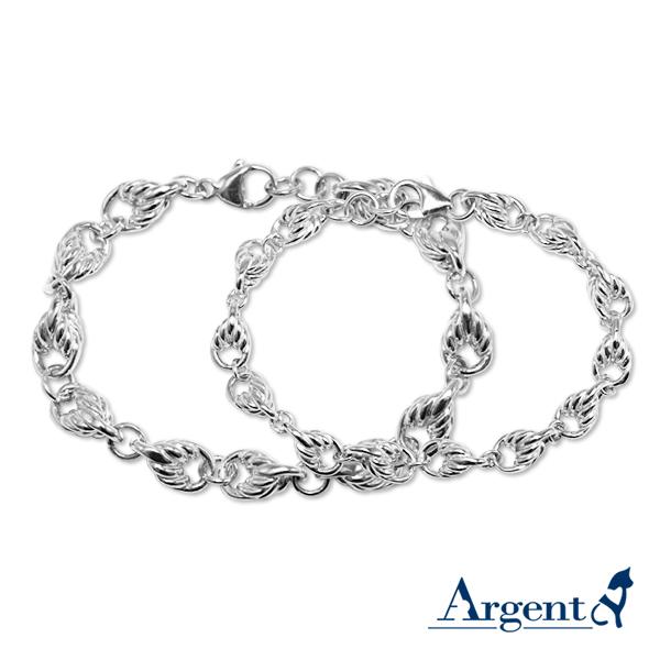 麻花中+細造型純銀對手鍊銀飾|情人節手飾