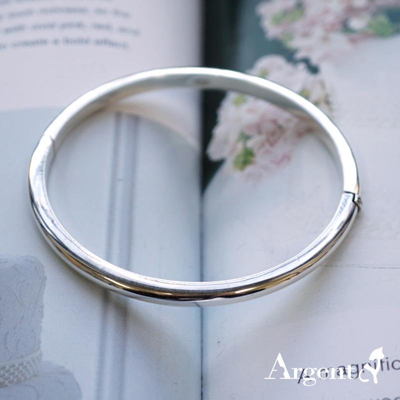 4mm弧形素面可開手環|純銀手鐲