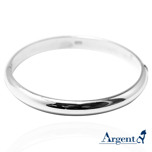 7mm弧形素面可開手環|純銀手鐲