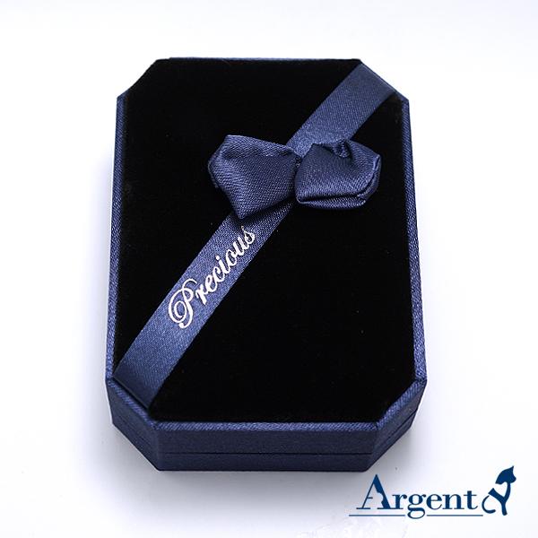 八角緞帶耳墜盒(大)(藍)(黑底)禮盒-項墜項鍊耳環適用|收納首飾盒