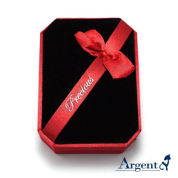 八角緞帶耳墜盒(大)(紅)(黑底)禮盒-項墜項鍊耳環適用|收納首飾盒