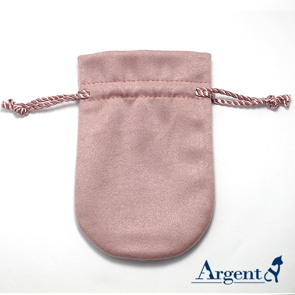 馬卡龍麂皮束口袋(粉紅色)-飾品收納袋