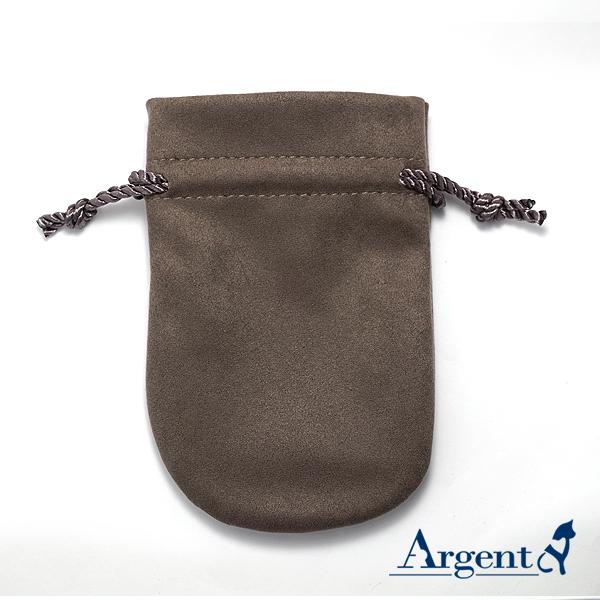 馬卡龍麂皮束口袋(深棕色)-飾品收納袋