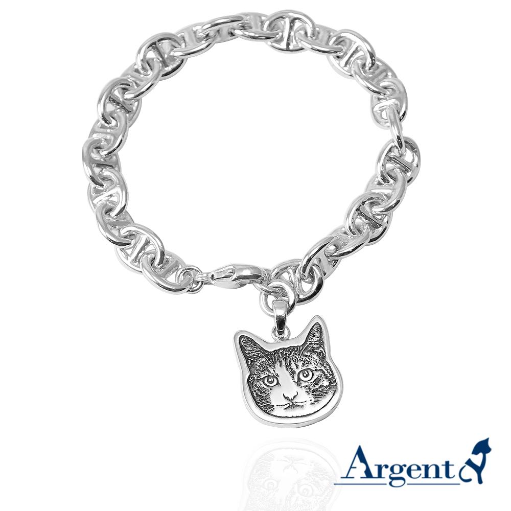 純銀-寵物外型-照片雷刻圖吊飾 雷刻照片+手工鋸(平面) 客製化項鍊刻字訂做