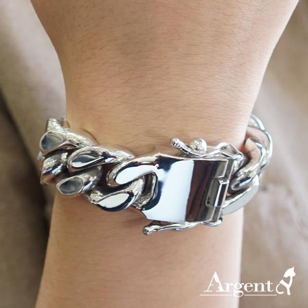 「扁鍊」18mm盒子扣-經典系列純銀手鍊|925銀飾