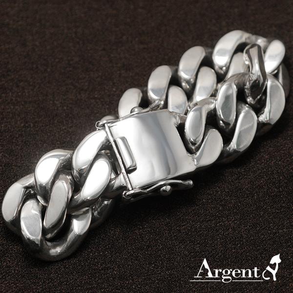 「扁鍊」20mm盒子扣-經典系列純銀手鍊|925銀飾