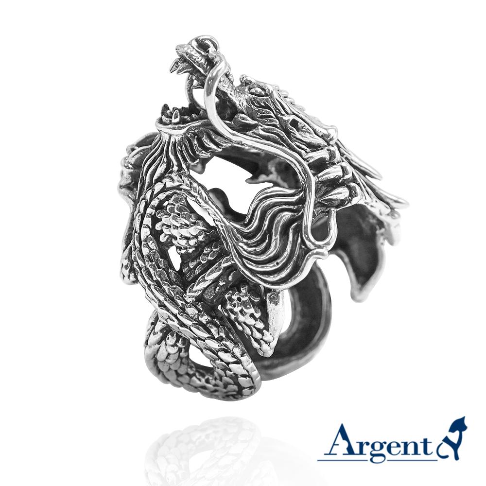 龍族擁珠動物造型雕刻純銀戒指|戒指推薦