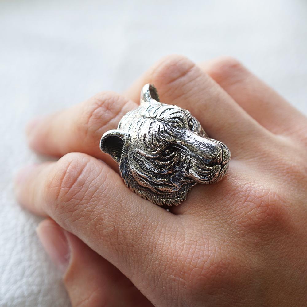 猛虎動物造型雕刻純銀戒指|戒指推薦
