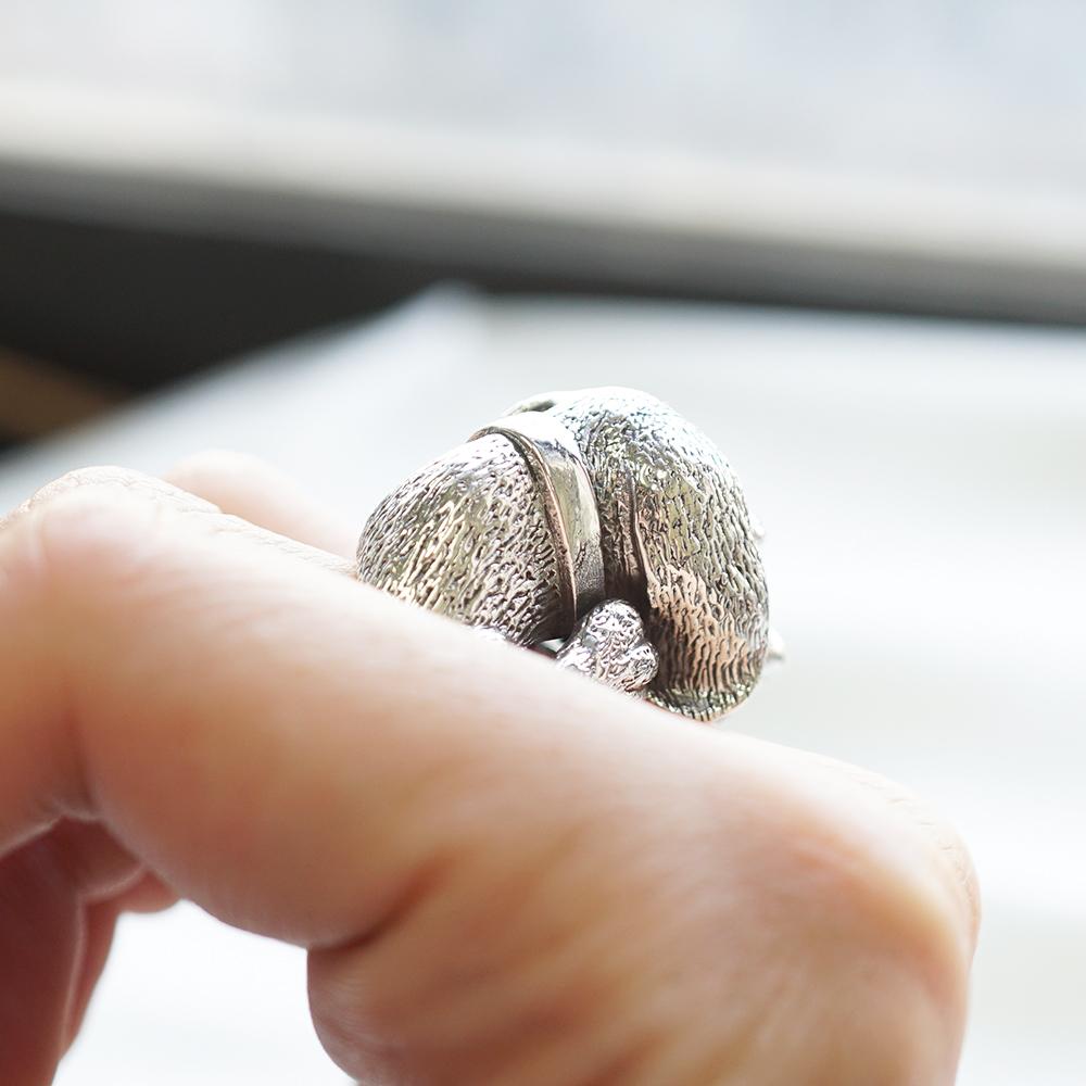 吐舌狗(米格魯)動物造型雕刻純銀戒指|戒指推薦