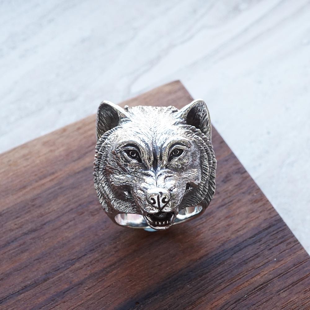 銀牙狼動物造型雕刻純銀戒指|戒指推薦